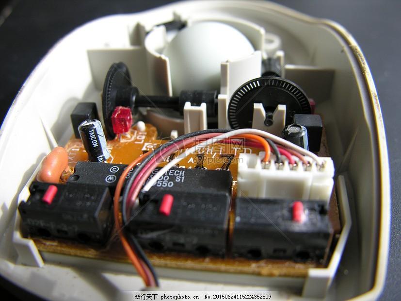 鼠标 球 插头 电路 电线 计算机 电子产品 红色