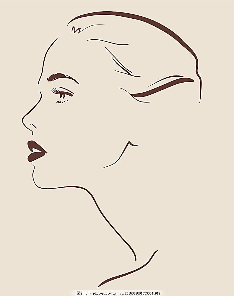 创意女性侧面 简笔画 女人面孔 漂亮女人 时尚女人 性感女人 线条女人
