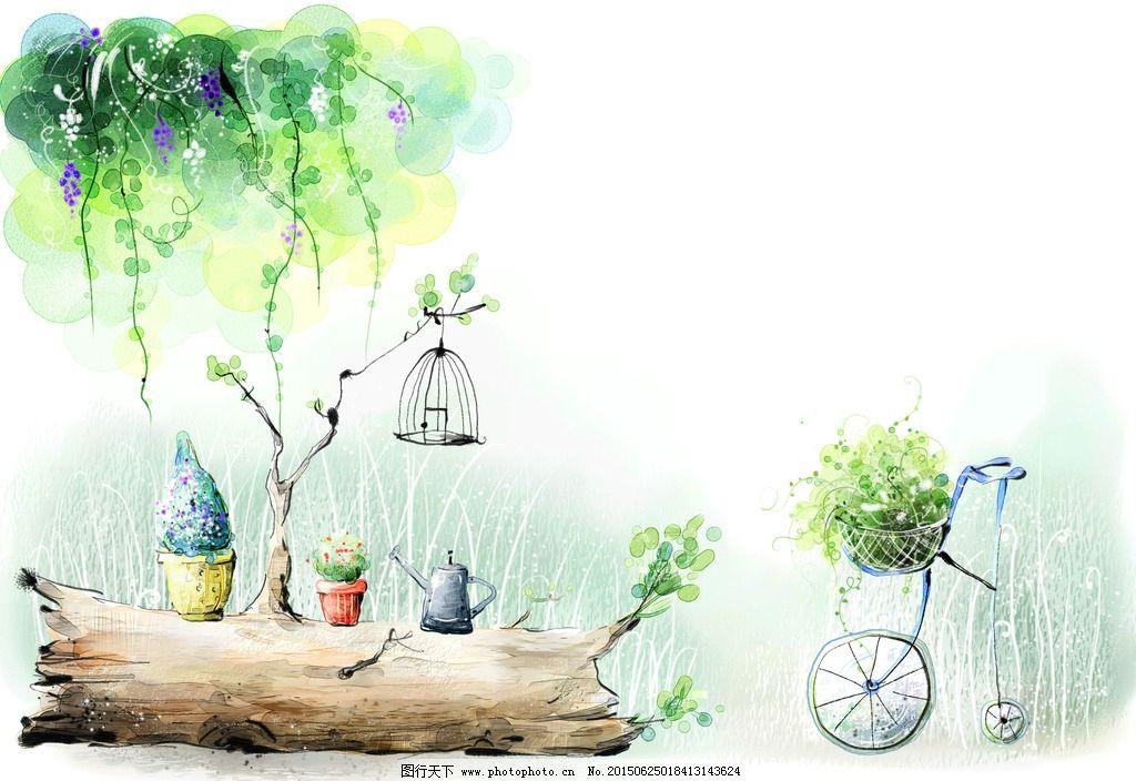 儿童图 背景 底纹 插图 手绘漫画背景 手绘风景画 风景画 手绘风景 树