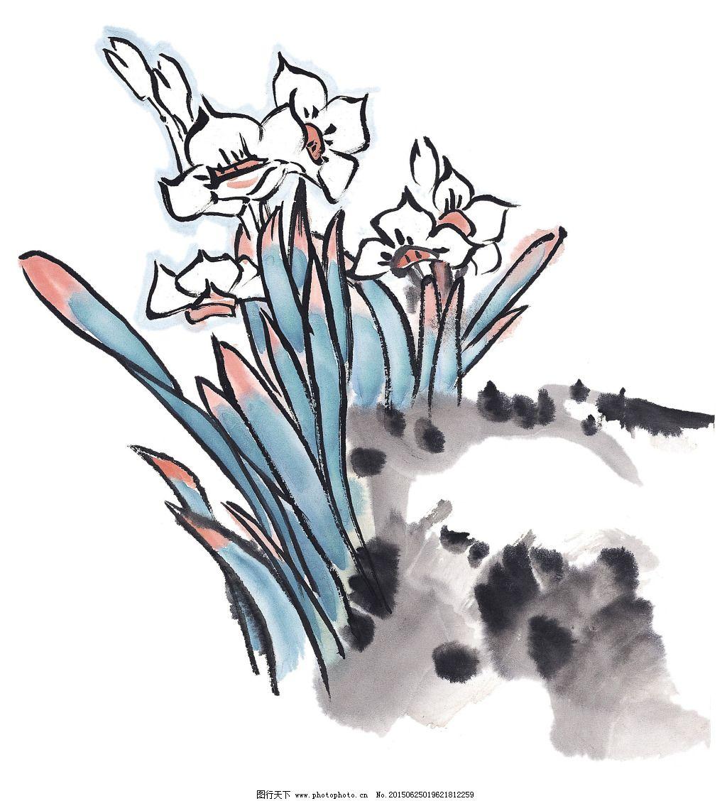 中国画 水墨 水仙