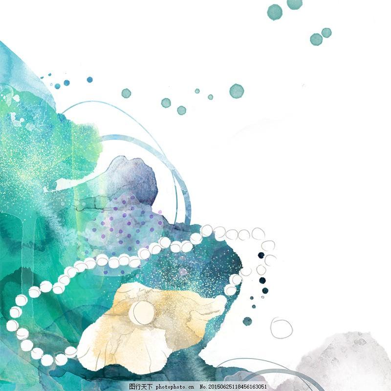 创意水墨背景 化妆品背景 手绘背景 贝壳 珍珠 唯美 白色