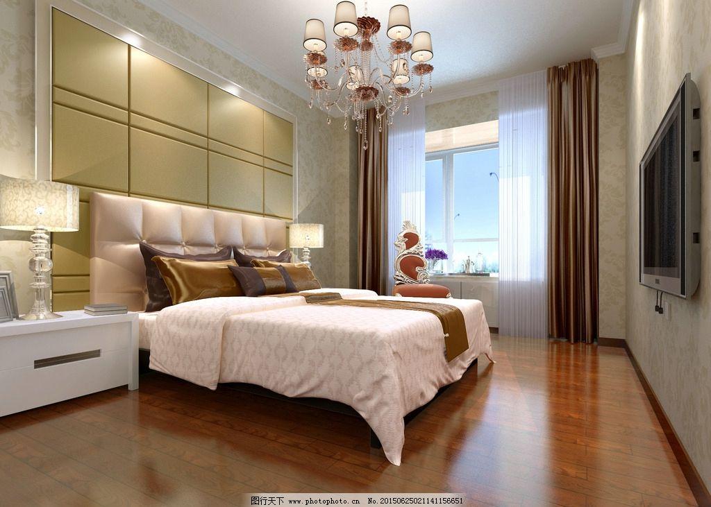 卧室效果图 软包背景墙 床头背景墙 软包床头 主卧室效果 主卧室木