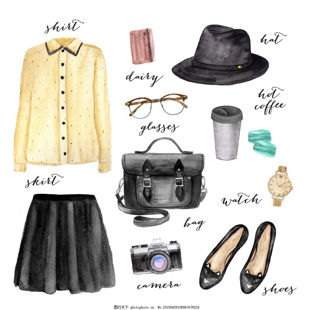 服装手绘 服装 背景 小清新素材 手绘服装 水彩服装      帽子 鞋子