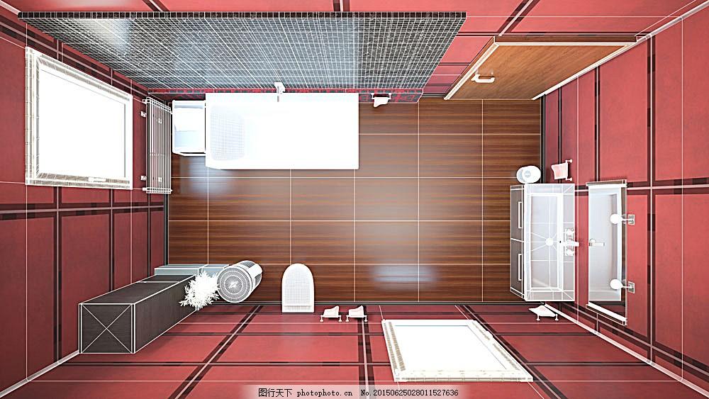 俯视图        室内设计 设计图        卫生间3d俯视效果图 环境家居