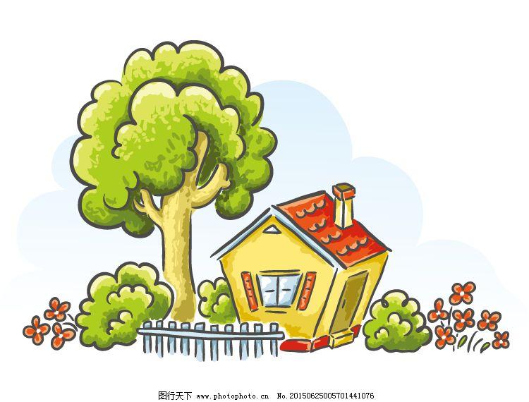 动漫卡通 动漫人物  手绘卡通小屋矢量素材免费下载 eps格式 大树