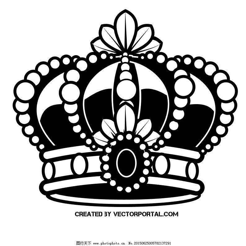 砖石皇冠精致矢量图黑白