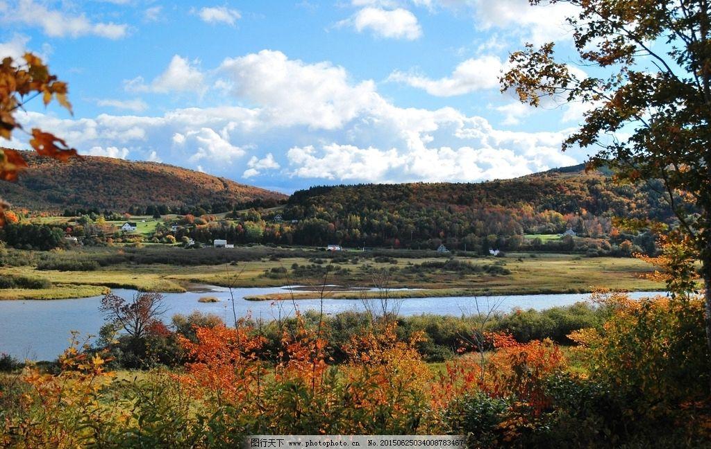 加拿大 乡村 枫叶 美景 蓝天 加拿大 摄影 旅游摄影 国外旅游 300dpi图片