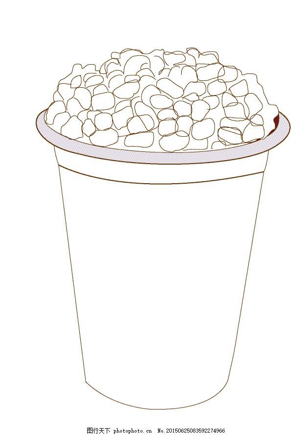 现调杯子矢量图 手绘线条 杯子外框 红豆 饮品杯子外框 手绘图