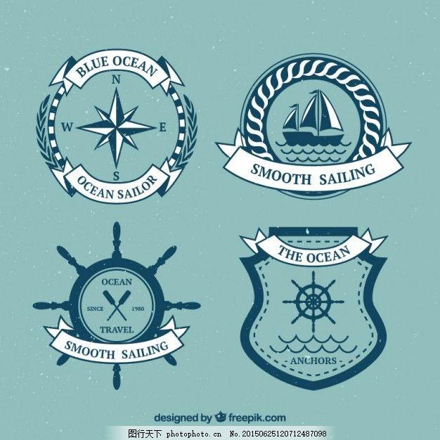 手绘古典帆船标志带