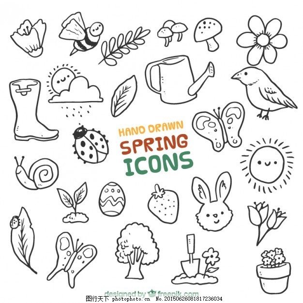 手画春天的动物和元素