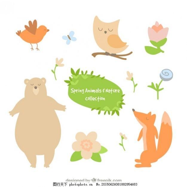 可爱的动物和花朵 手鸟 蝴蝶 自然 春天 手画 猫头鹰 熊 狐狸