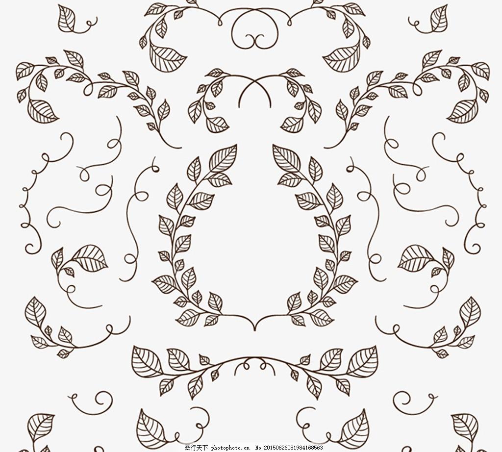手绘树枝与树叶矢量素材 ai 欧式 花纹 美式 背景 底纹 植物