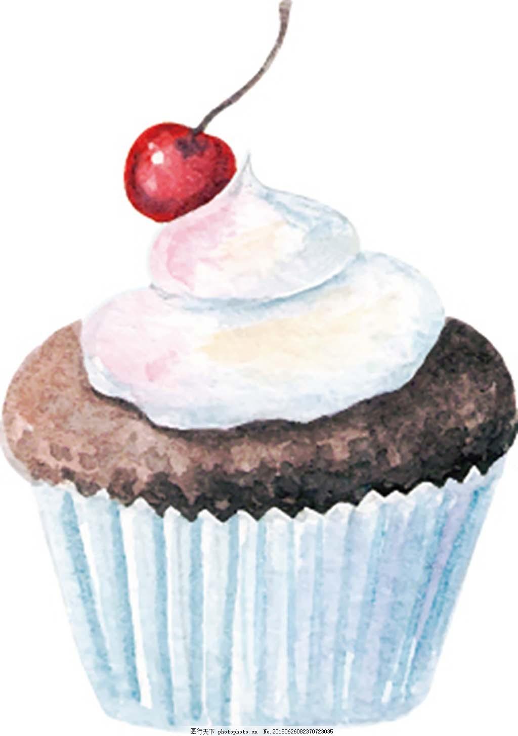 水彩手绘樱桃纸杯蛋糕冰淇淋