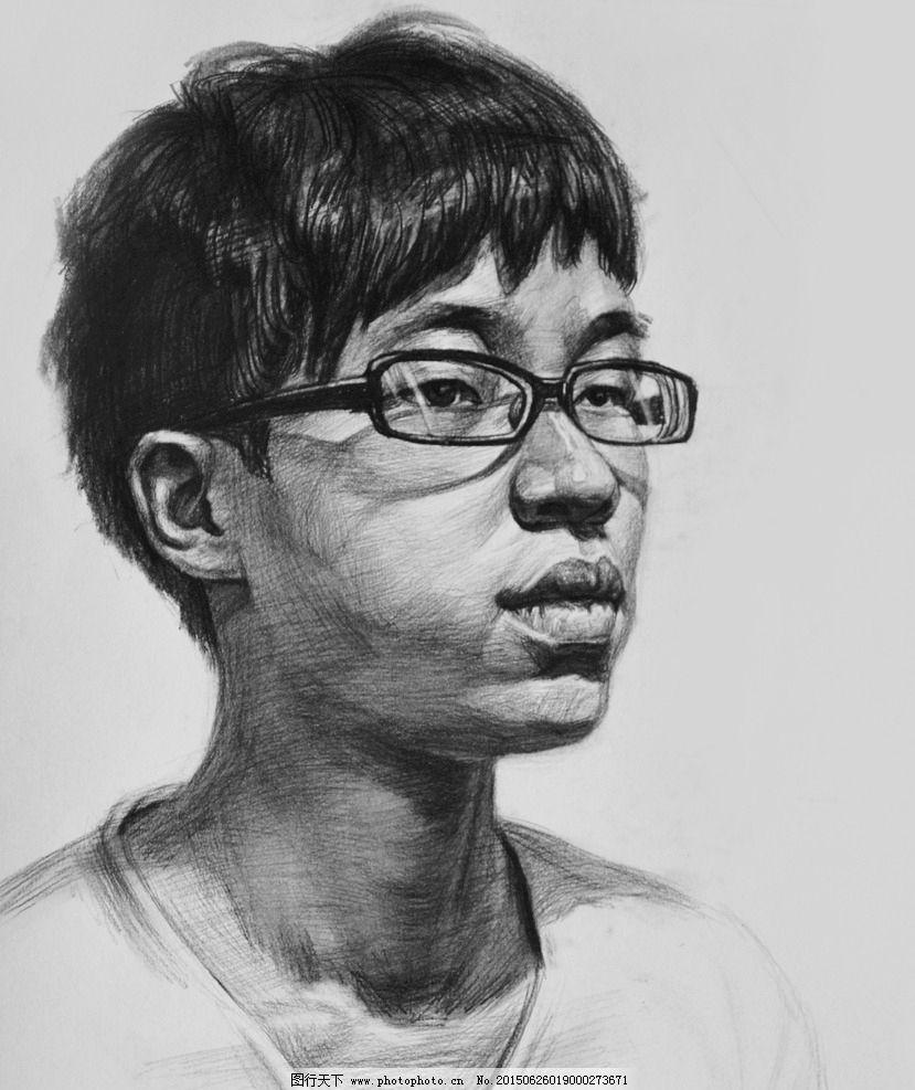 素描 铅笔画      戴眼镜的青年