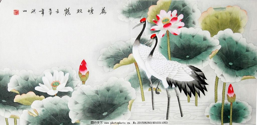 国画工笔 仙鹤 荷花 荷叶 艺术绘画
