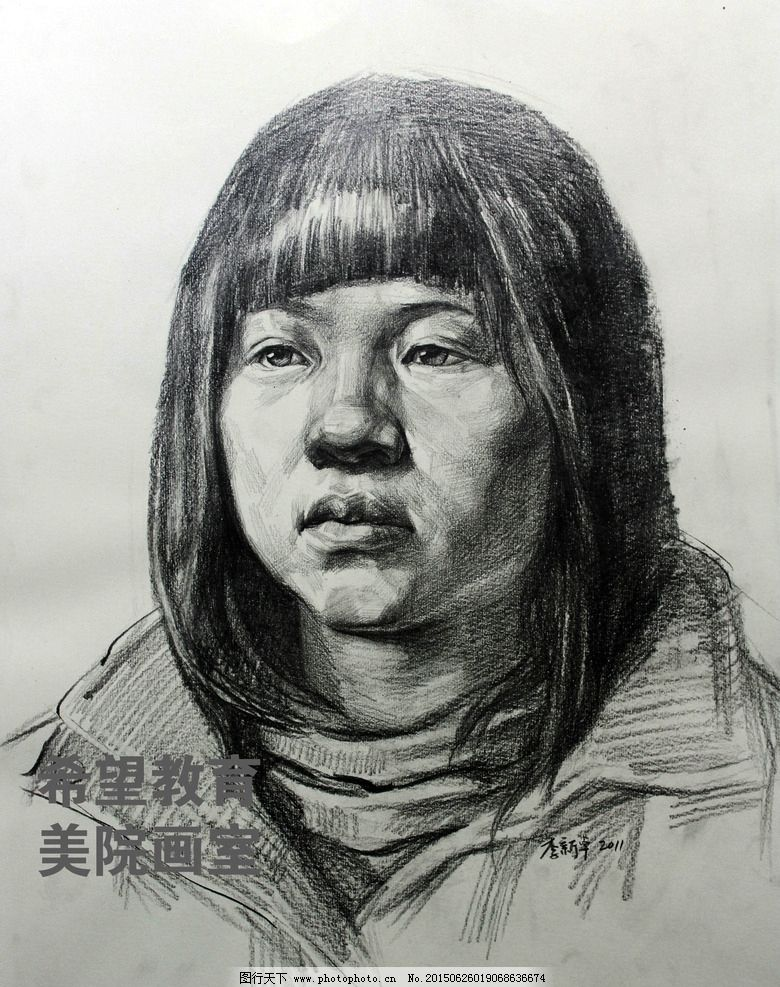 头像素描 女青年 正面 铅笔画 艺术绘画