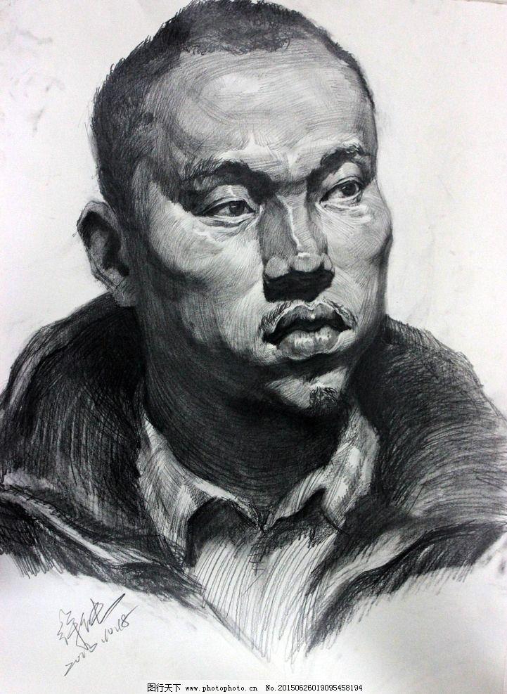 素描 铅笔画      青年 四分之三 侧面 艺术绘画 设计 文化艺术 绘画