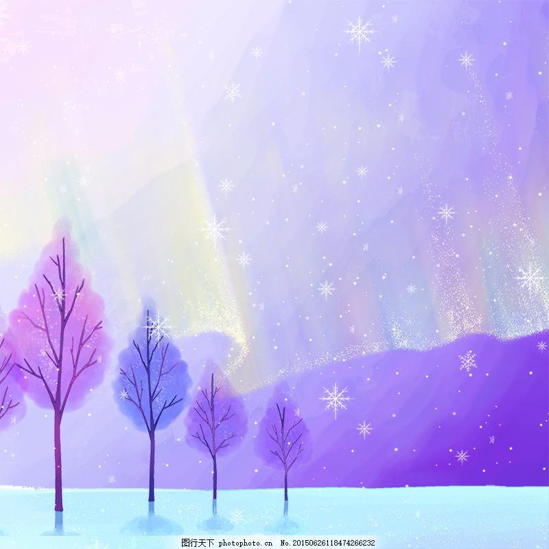 梦幻手绘背景 紫色 雪花 树木 梦幻背景 白色
