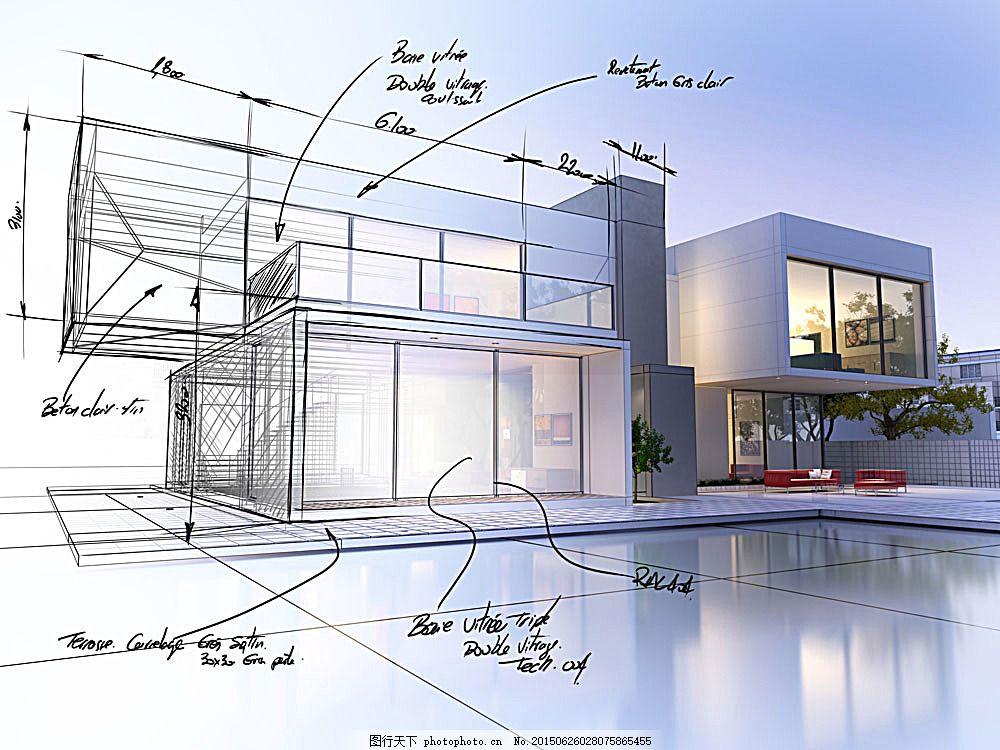 别墅效果图 楼房 别墅建筑 建筑设计 别墅设计效果图 手绘别墅效果图
