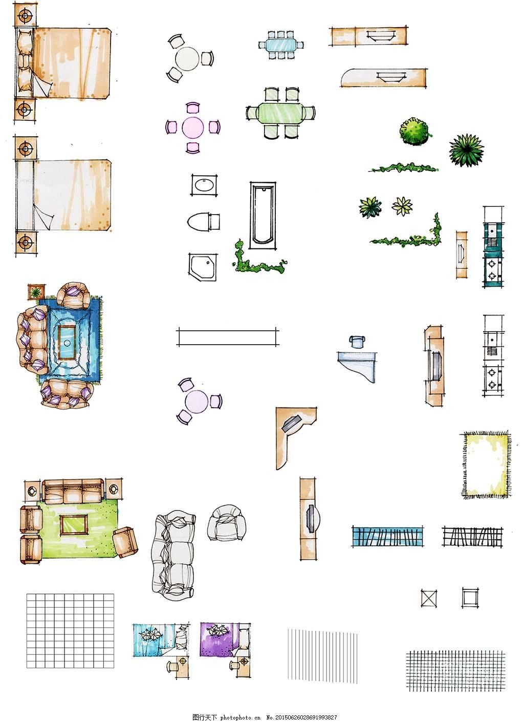 手绘室内设计素材 装饰品 室内素材 家居素材 平面设计 高清图片