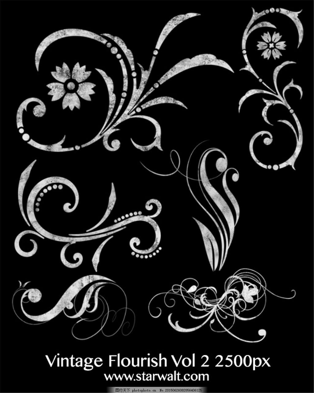 复古手绘花纹装饰ps笔刷