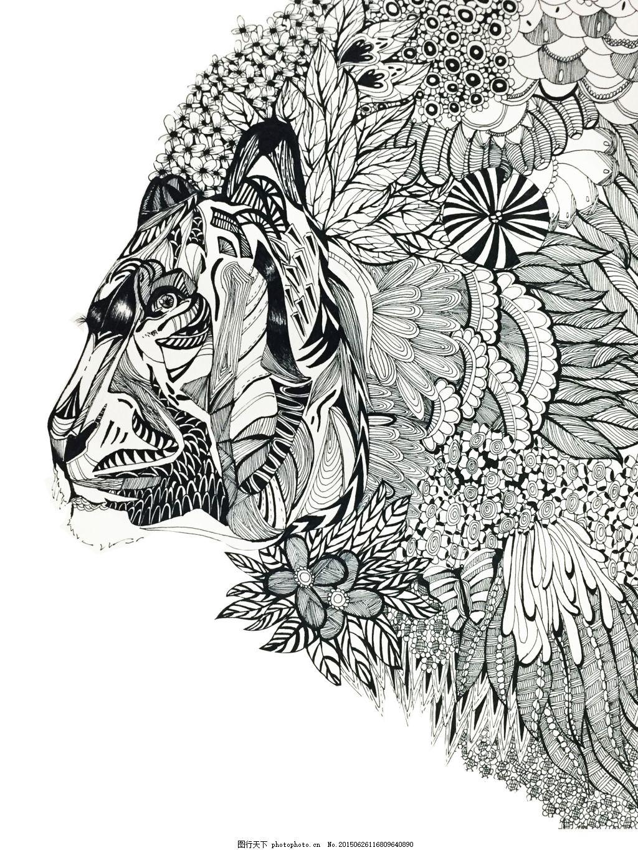 老虎手绘 线描 黑白 植物 动物 白色