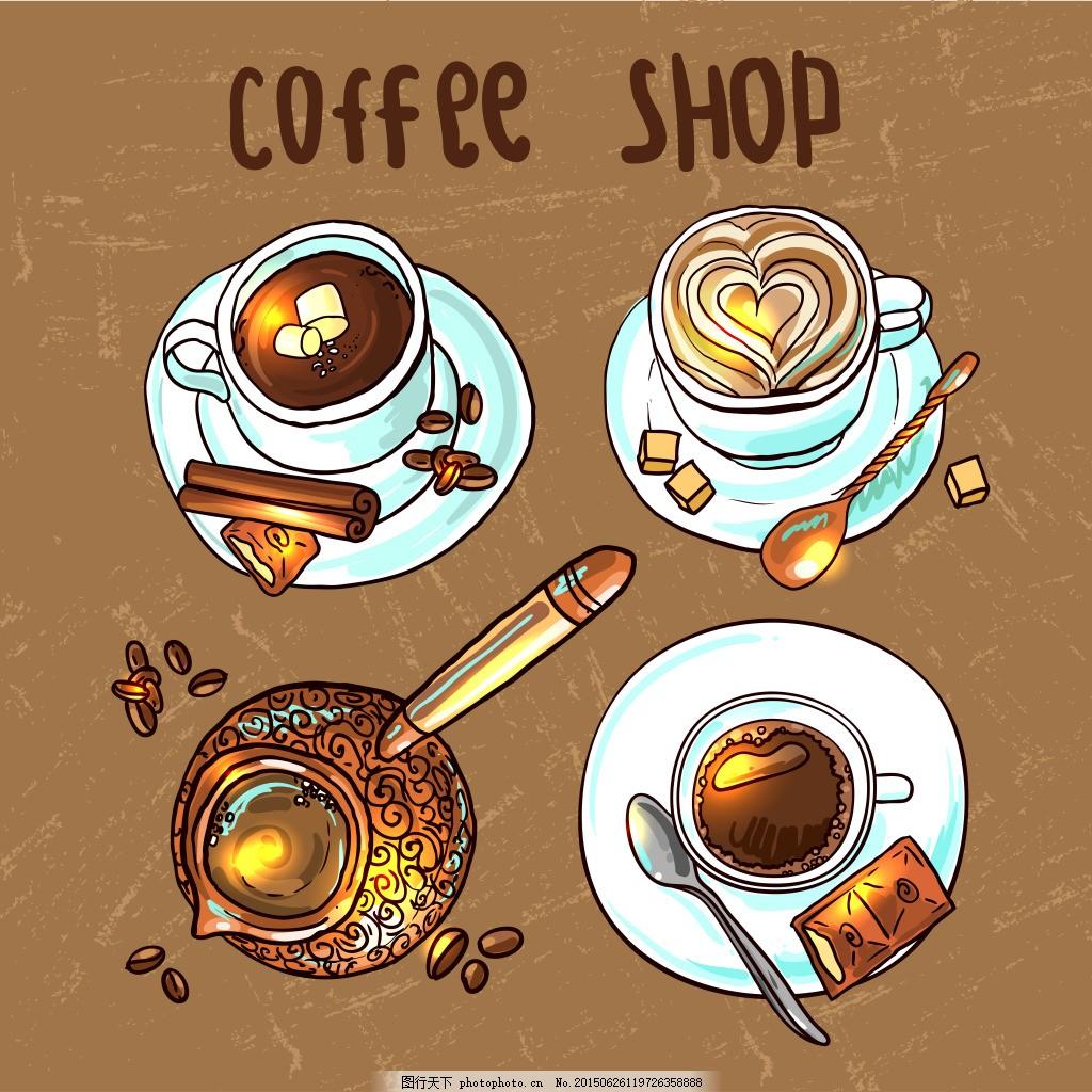 咖啡漫画 时尚 手绘 棕色