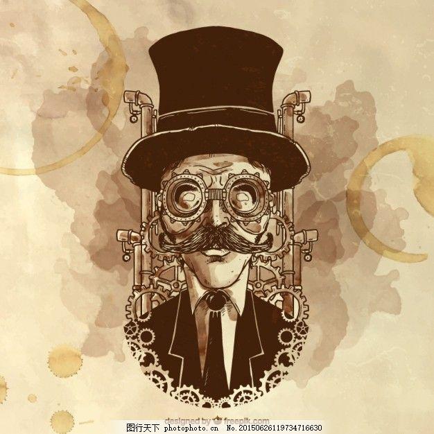 手绘插图的蒸汽朋克的人 葡萄酒 咖啡 水彩画 复古 人 艺术 金属 齿轮
