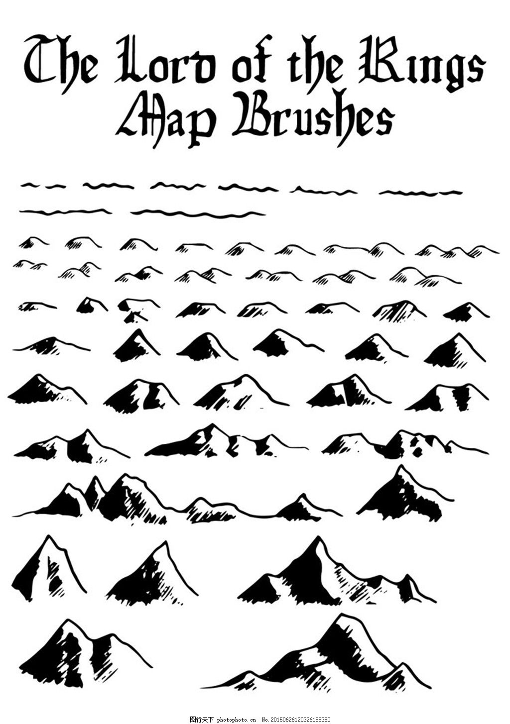 cg手绘小山和山峰ps笔刷 英文 黑白 白色