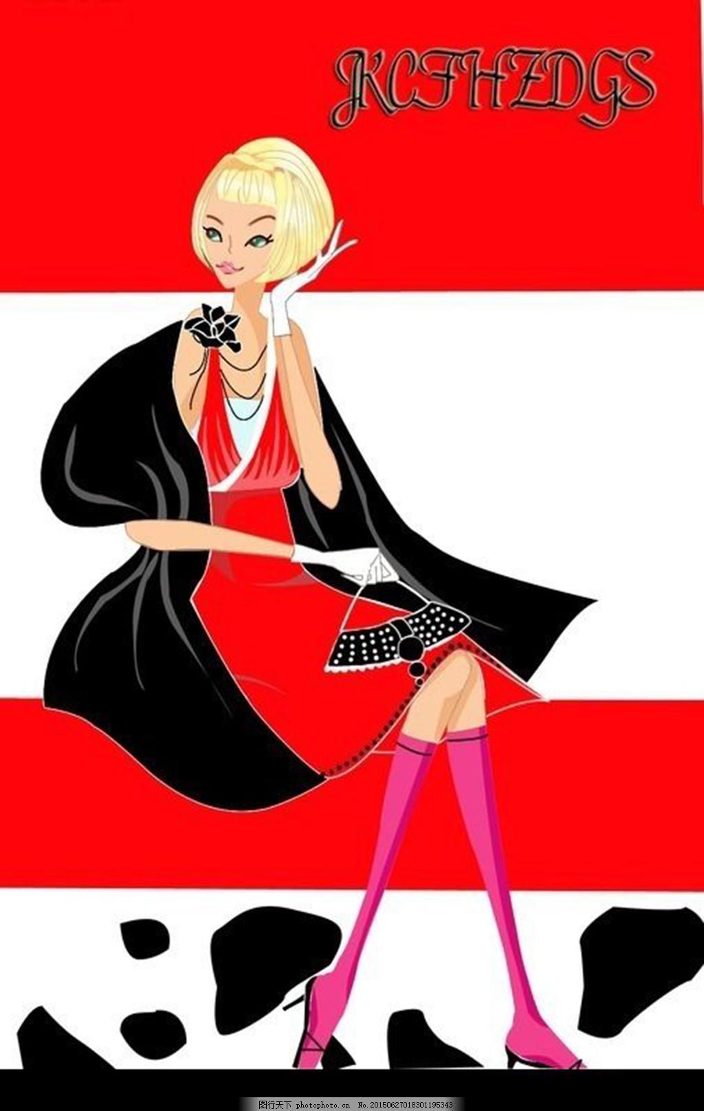 卡通插画女孩 短头发 红裙子 皮包 高跟鞋 黑披肩 卡通人物 漫画