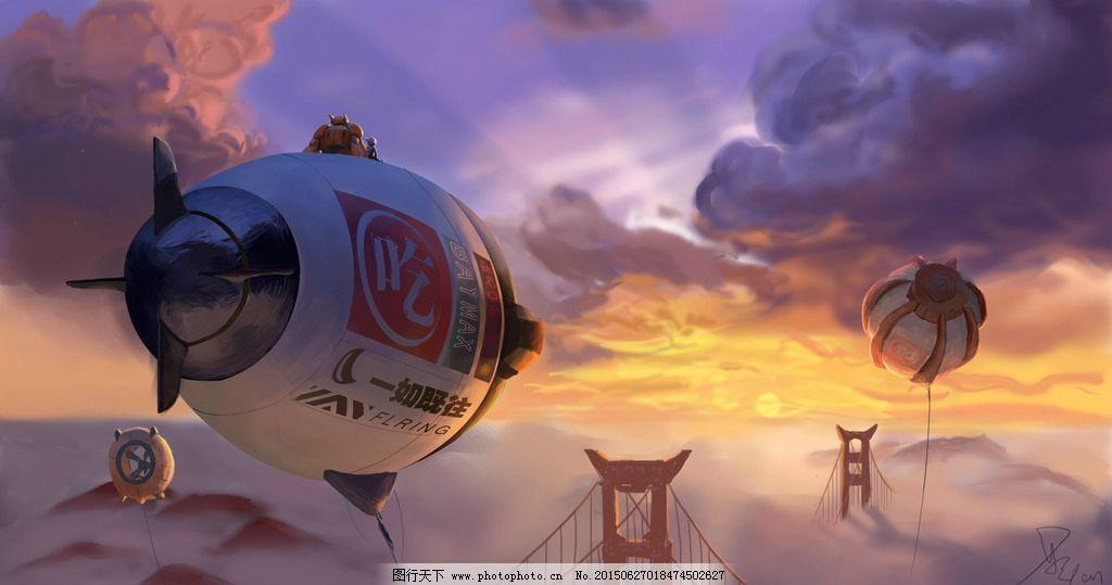 手绘板 热气球 黄昏 金门大桥
