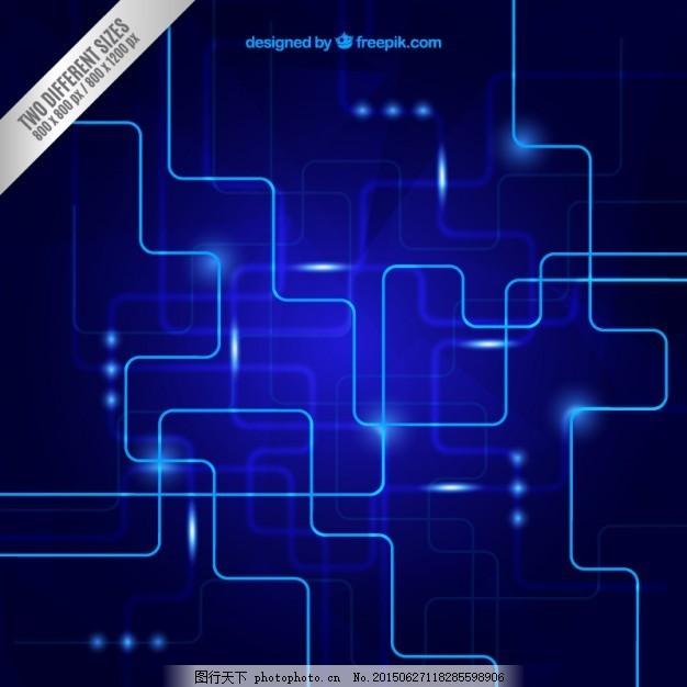 蓝色的背景 蓝色的线 数字技术背景下 抽象的线条 技术 电路 电子