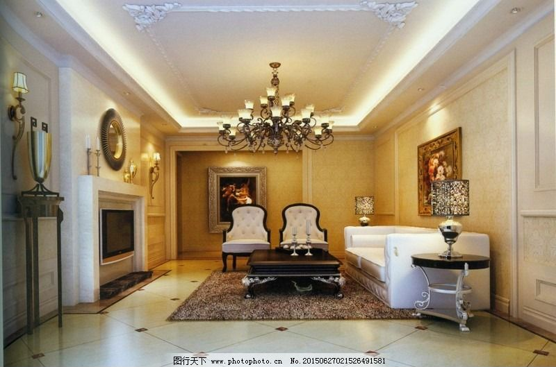 简约欧式客厅效果图 地毯 简约客厅 室内模型 白色沙发 黑色茶几