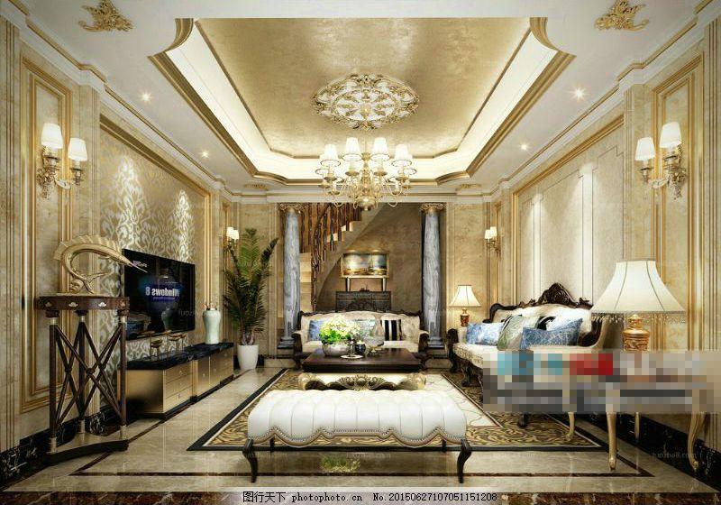 欧式豪华别墅 别墅客厅 沙发茶几 电视机 客厅修饰 灰色