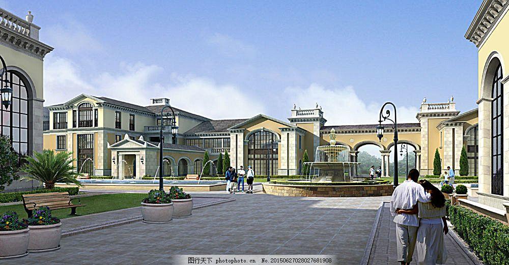 建筑外观 建筑设计 景观设计 3d效果图 高档宾馆 欧式建筑 透视图