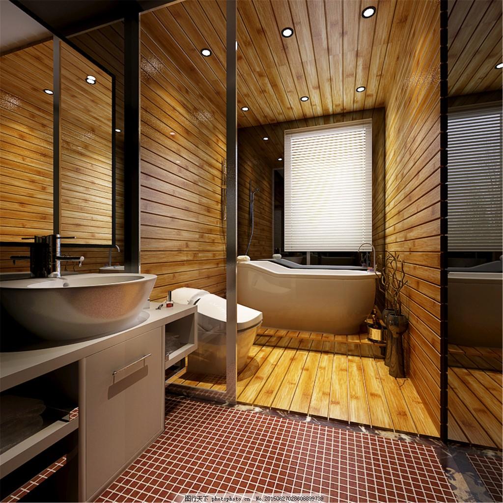 卫生间装修效果图 浴缸 水池 洗手池 镜子 马桶 简约 室内设计