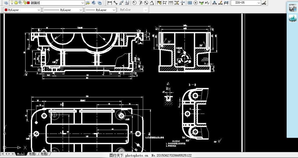 一级减速器零件图 装配图 黑色