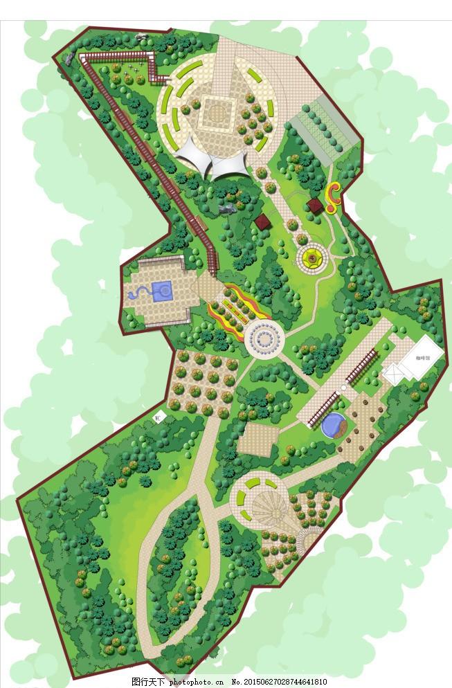 公园彩色平面图图片