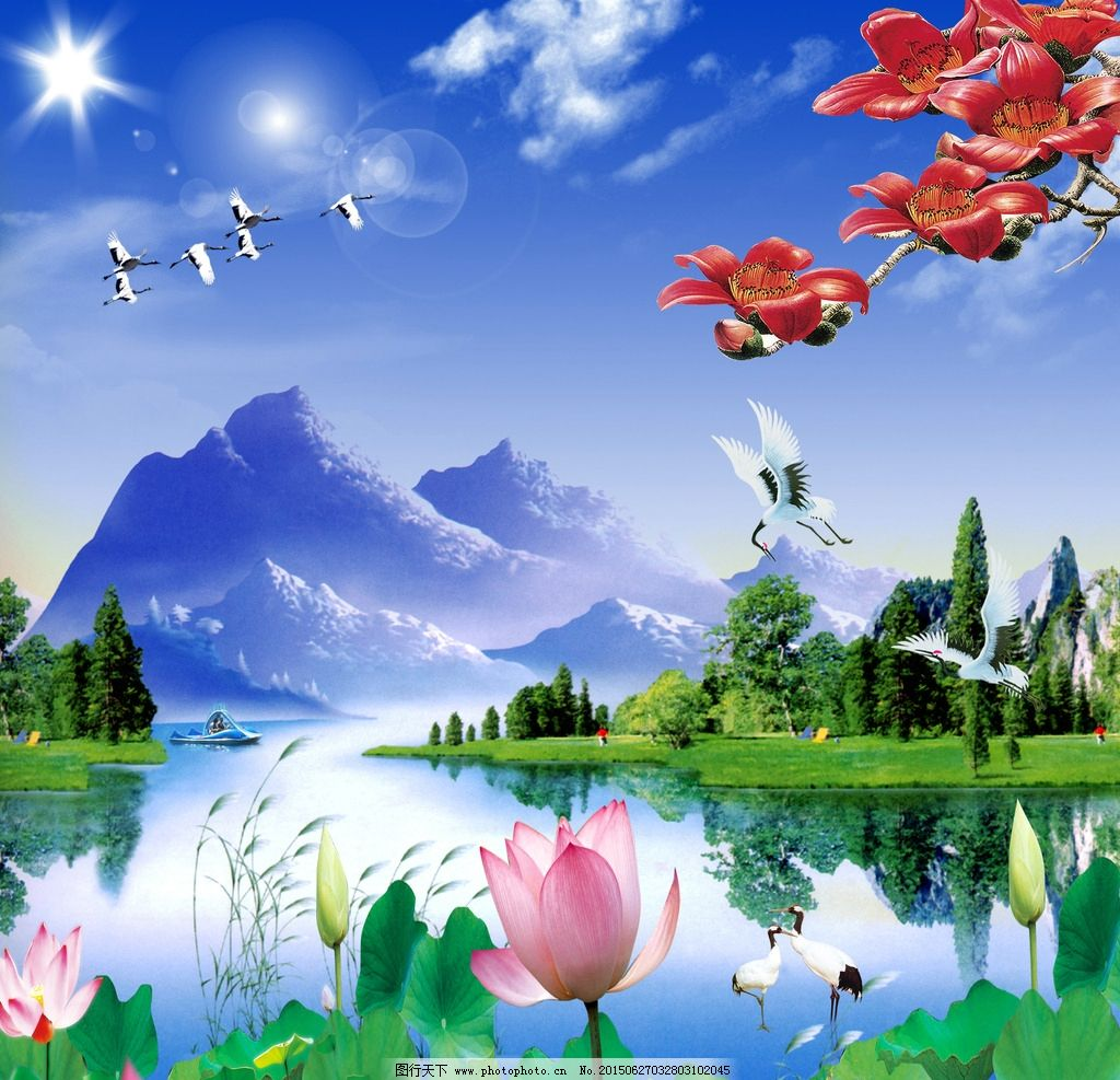山水画 风景画 风景图 荷花 山 水 花 鹤 风景图片 风景 设计 psd分层
