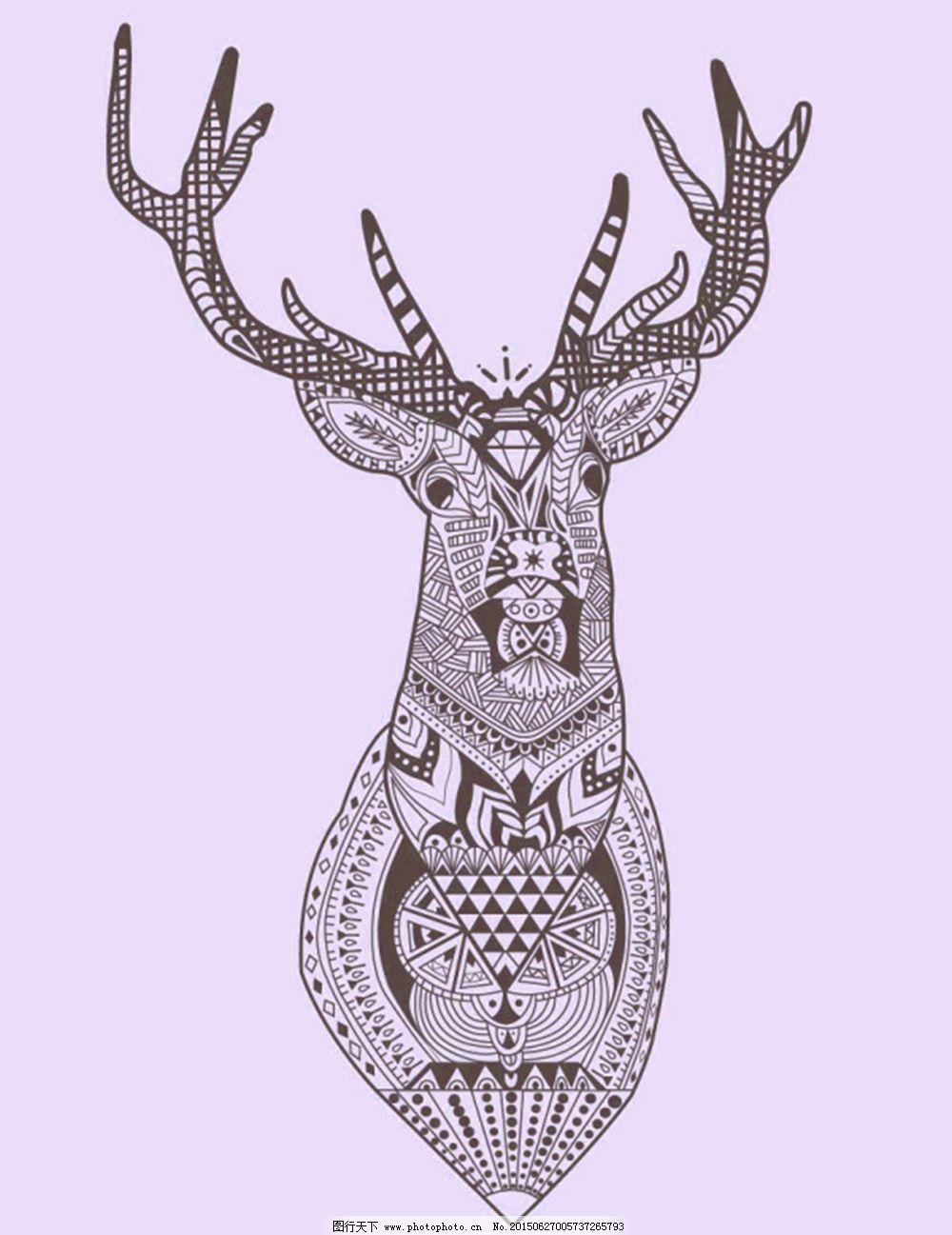 矢量线条动物鹿花纹几何