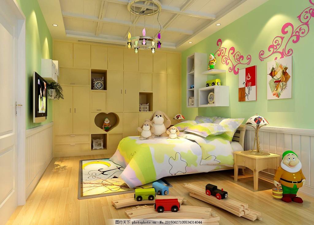 儿童卧室模型 儿童卧室装饰免费下载 室内设计 双人床 玩具模型