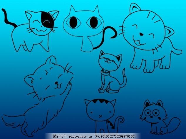 可爱手绘线条猫猫笔刷