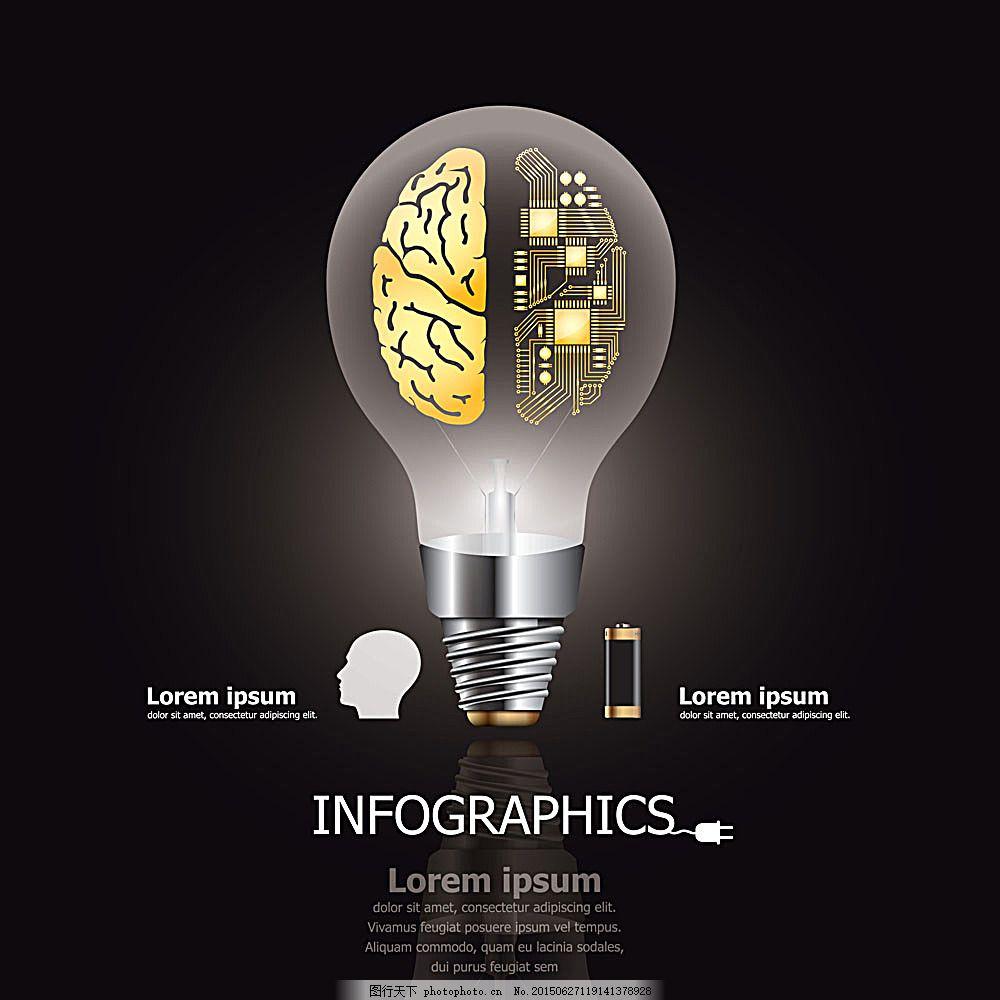 电灯泡与大脑 电灯泡 大脑 电路图 信息图表 矢量图表 统计图 办公