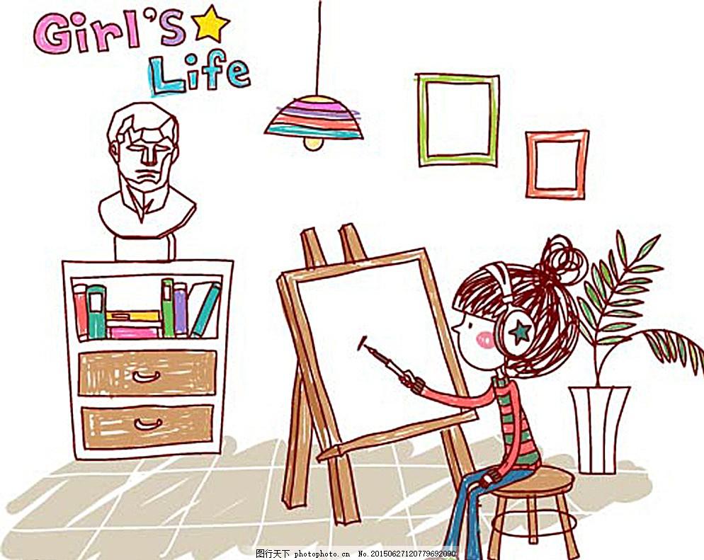 手绘卡通人物墙画