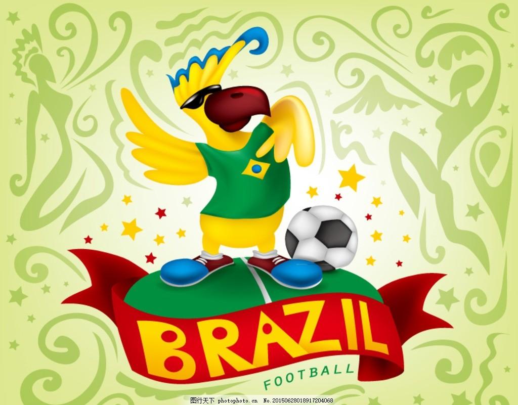 巴西世界杯鹦鹉背景矢量素材 巴西 世界杯 鹦鹉 动物 鸟类 足球 体育
