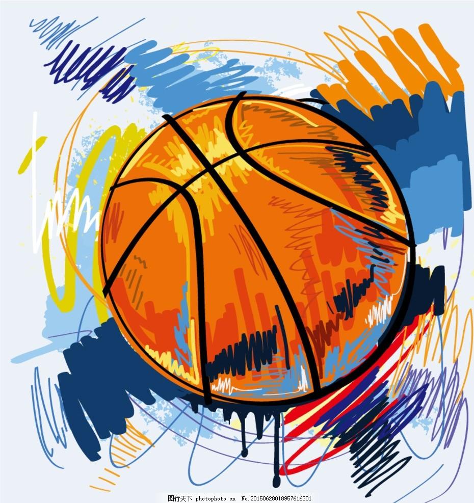 彩绘篮球涂鸦插画矢量素材 彩铅 线绘 手绘 线描 绘画 美术 体育