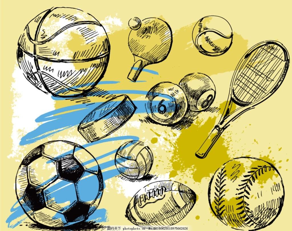 手绘球具设计矢量素材 手绘 球具 篮球 足球 乒乓球 网球 台球 桌球