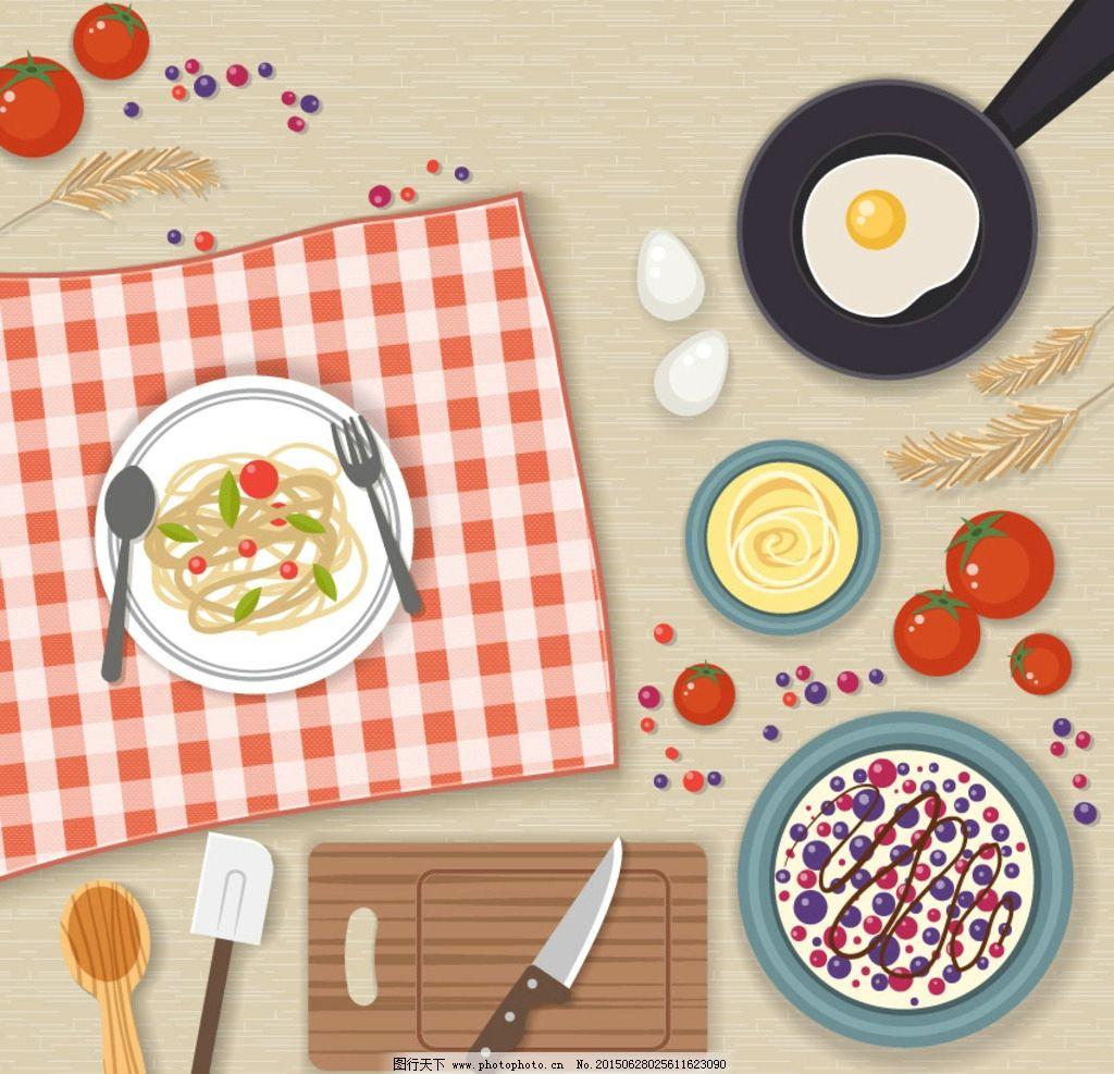 厨房美食手绘图片