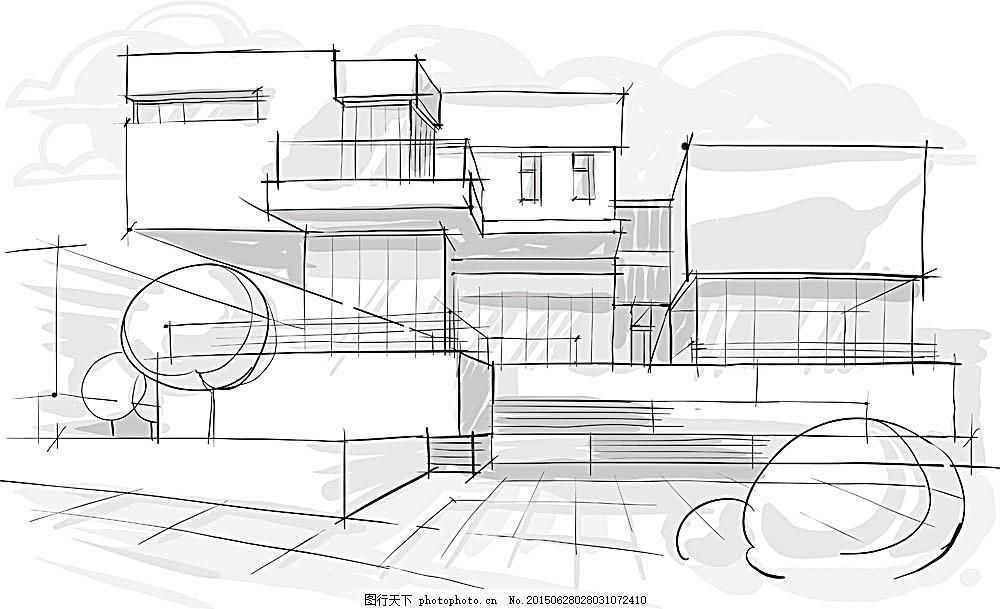 手绘房屋建筑 手绘图纸 手绘景观 城市建筑 手绘城市 抽象城市