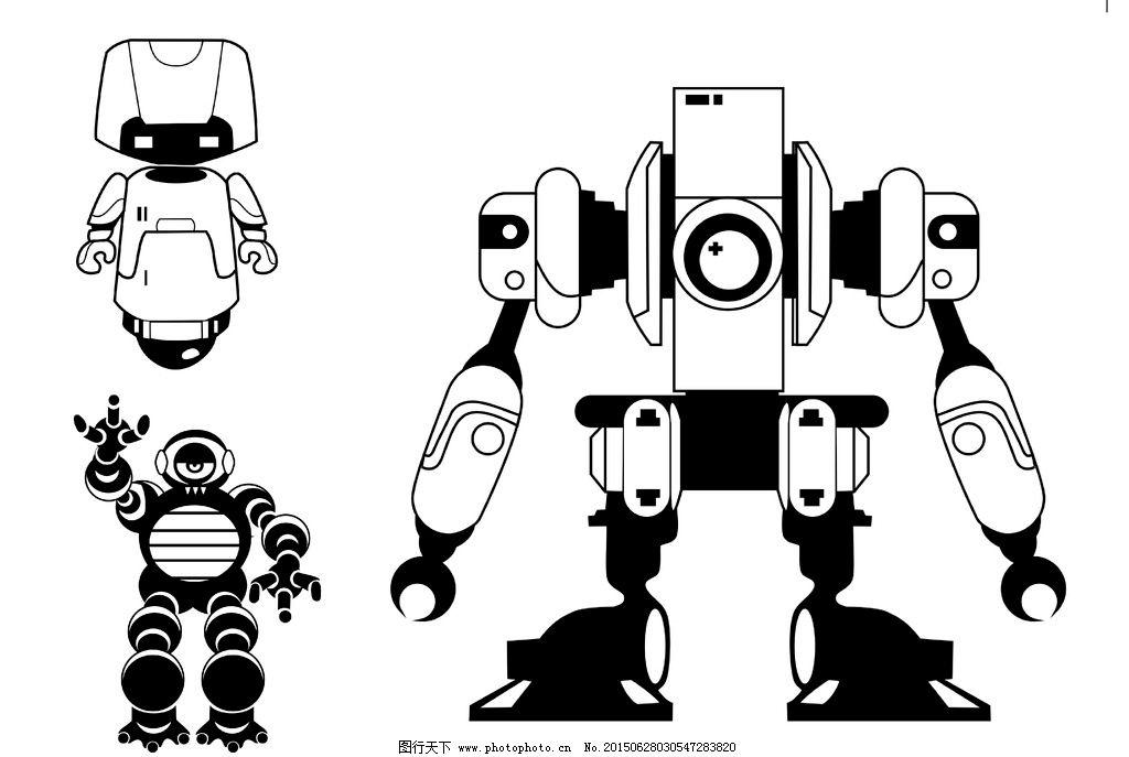 矢量图 cdr 机器人 黑白 线稿 设计 广告设计 卡通设计 cdr